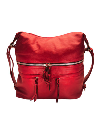 Stylový dámský kabelko-batoh z eko kůže Tapple H181175 červený přední strana