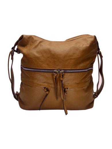 Stylový dámský kabelko-batoh z eko kůže Tapple H181175 středně hnědý přední strana