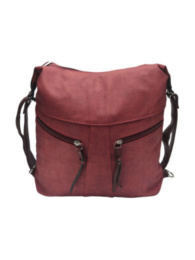 Velký dámský kabelko-batoh z eko kůže Tapple H18076 vínový/bordó přední strana
