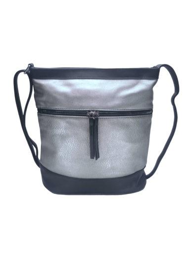 Crossbody kabelka s vodorovným zipem Tapple H17435O stříbrná přední strana