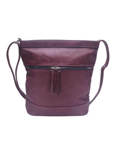 Crossbody kabelka se slušivou texturou Tapple H17435 vínová/bordó přední strana