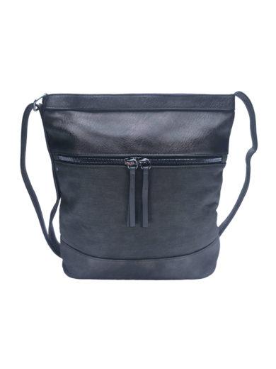 Crossbody kabelka se slušivou texturou Tapple H17435 tmavě šedá přední strana