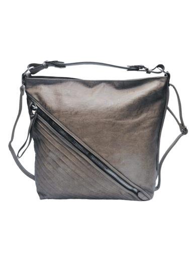 Velká crossbody kabelka se šikmým zipem Tapple H18090 středně hnědá přední strana