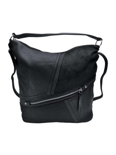 Velká crossbody kabelka z měkké kůže Tapple H18070 černá přední strana