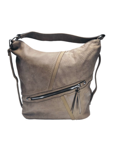 Velká crossbody kabelka z měkké kůže Tapple H18070 světle hnědá přední strana