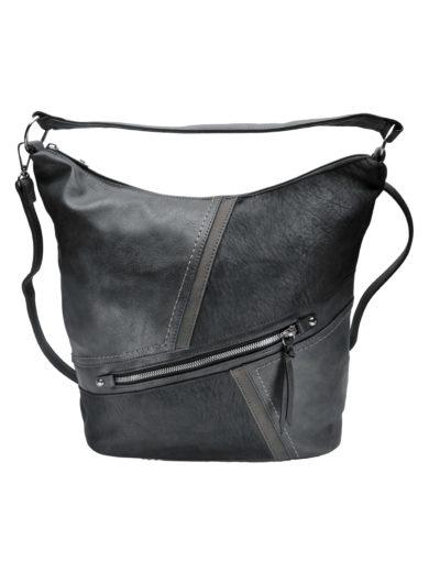 Velká crossbody kabelka z měkké kůže Tapple H18070 tmavě šedá přední strana