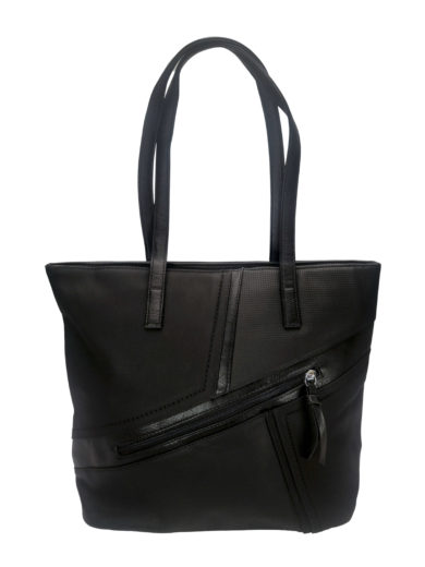 Moderní kabelka přes rameno z jemné eko kůže, Tapple H18067, černá, přední strana