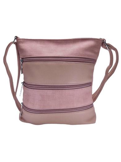 Crossbody kabelka se stylovými zipy, Tapple H17286N, starorůžová, přední strana
