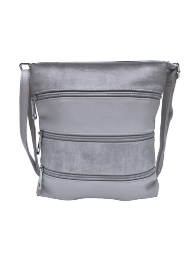 Crossbody kabelka se stylovými zipy, Tapple H17286N, světle šedá, přední strana
