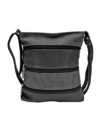 Crossbody kabelka se stylovými zipy, Tapple H17286N, tmavě šedá, přední strana