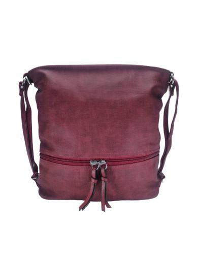 Kabelko-batoh střední velikosti se slušivou texturou, Tapple H18009-1, bordó, přední strana
