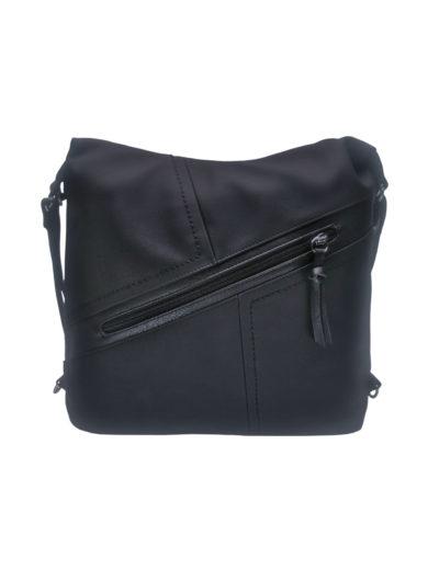 Velký dámský kabelko-batoh s šikmou kapsou, Tapple H18077N, černý, přední strana kabelko-batohu