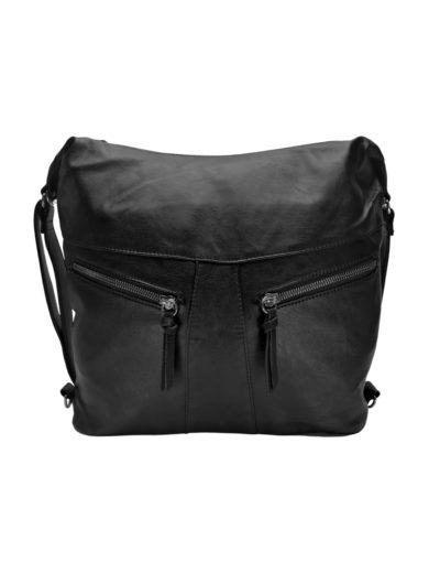Velký dámský kabelko-batoh 2v1 s šikmými kapsami, Tapple, H18076O, černý, přední strana kabelko-batohu