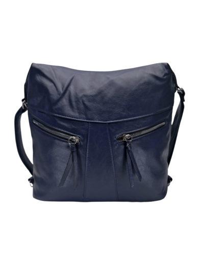Velký dámský kabelko-batoh 2v1 s šikmými kapsami, Tapple, H18076O, tmavě modrý, přední strana kabelko-batohu