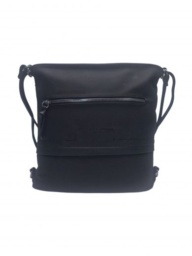 Střední kabelko-batoh 2v1 s praktickou kapsou, Tapple, H190062, černý, přední strana kabelko-batohu