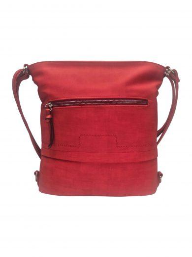 Střední kabelko-batoh 2v1 s praktickou kapsou, Tapple, H190062, červený, přední strana kabelko-batohu