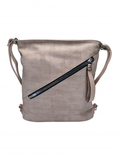 Střední kabelko-batoh 2v1 se slušivým šikmým zipem, Tapple, H190061, béžový, přední strana kabelko-batohu