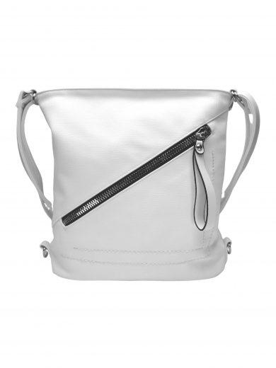 Střední kabelko-batoh 2v1 se slušivým šikmým zipem, Tapple, H190061, bílý, přední strana kabelko-batohu