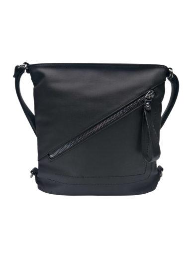 Střední kabelko-batoh 2v1 se slušivým šikmým zipem, Tapple, H190061, černý, přední strana kabelko-batohu
