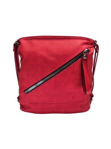 Střední kabelko-batoh 2v1 se slušivým šikmým zipem, Tapple, H190061, červený, přední strana kabelko-batohu