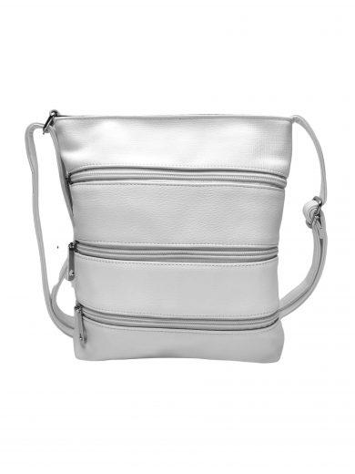 Crossbody kabelka se stylovými zipy, Tapple H17286N, bílá, přední strana crossbody kabelky