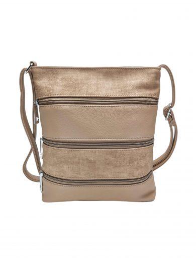 Crossbody kabelka se stylovými zipy, Tapple H17286N, světle hnědá, přední strana crossbody kabelky