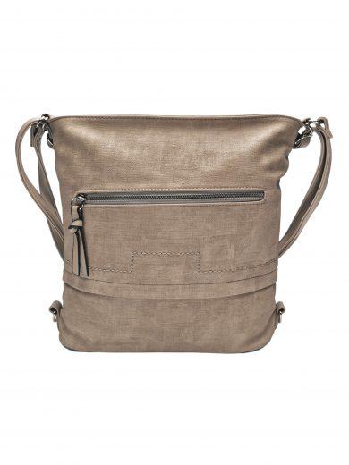 Střední kabelko-batoh 2v1 s praktickou kapsou, Tapple, H190062, světle hnědý, přední strana kabelko-batohu