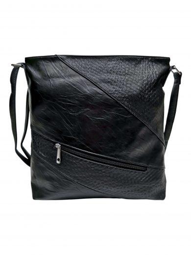 Velká crossbody kabelka se slušivou texturou, Tapple, H17225, černá, přední strana kabelky