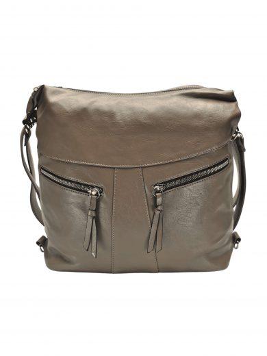 Velký dámský kabelko-batoh 2v1 s šikmými kapsami, Tapple, H18076O, šedohnědý, přední strana kabelko-batohu