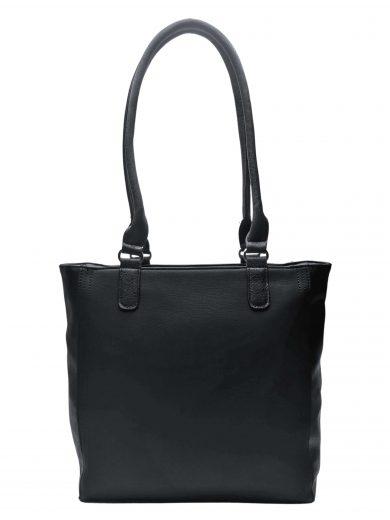 Moderní dámská kabelka přes rameno s texturou, Tapple, H17237, černá, přední strana kabelky přes rameno