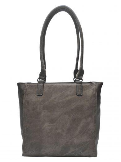 Moderní dámská kabelka přes rameno s texturou, Tapple, H17237, šedohnědá, přední strana kabelky přes rameno