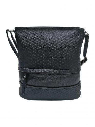 Střední crossbody kabelka z jemné kůže s texturou, Tapple, H2020328, černá, přední strana crossbody kabelky