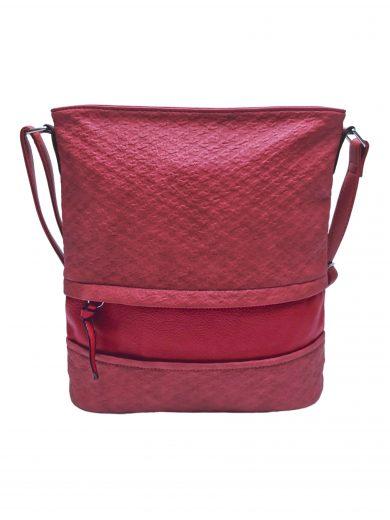 Střední crossbody kabelka z jemné kůže s texturou, Tapple, H2020328, červená, přední strana crossbody kabelky