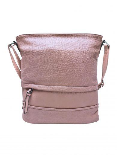 Střední crossbody kabelka z jemné kůže s texturou, Tapple, H2020328, starorůžová, přední strana crossbody kabelky
