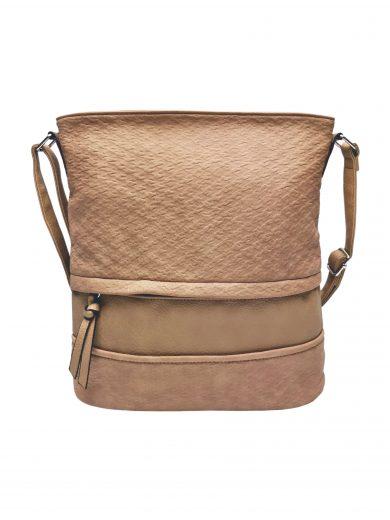 Střední crossbody kabelka z jemné kůže s texturou, Tapple, H2020328, světle hnědá, přední strana crossbody kabelky