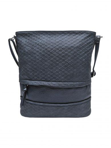 Střední crossbody kabelka z jemné kůže s texturou, Tapple, H2020328, tmavě modrá, přední strana crossbody kabelky