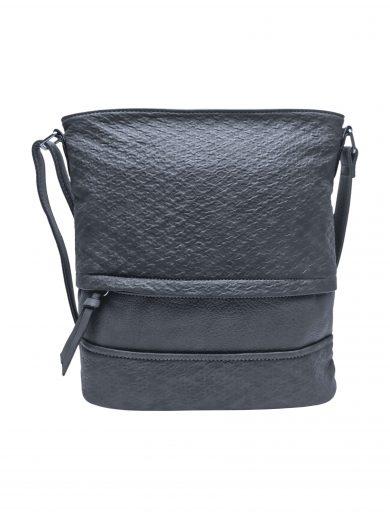 Střední crossbody kabelka z jemné kůže s texturou, Tapple, H2020328, tmavě šedá, přední strana crossbody kabelky