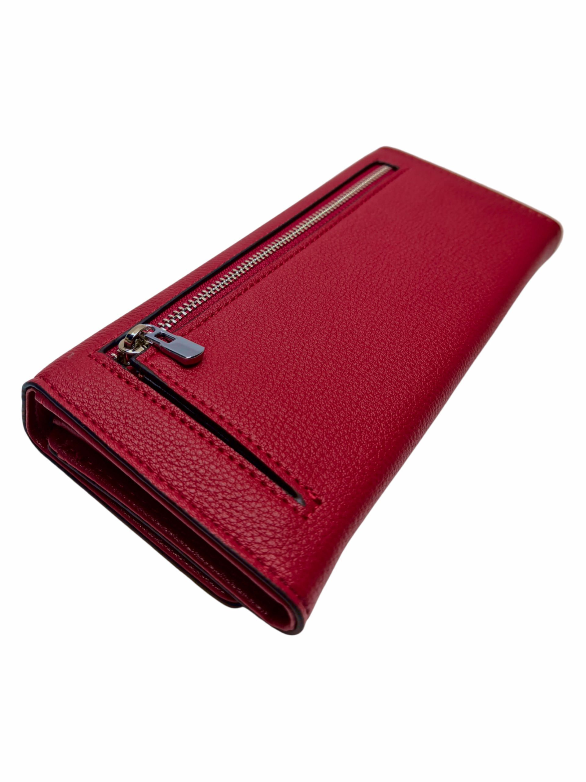 Elegantní dámská peněženka na magnetky, New Berry, 108-1, červená, zadní strana peněženky