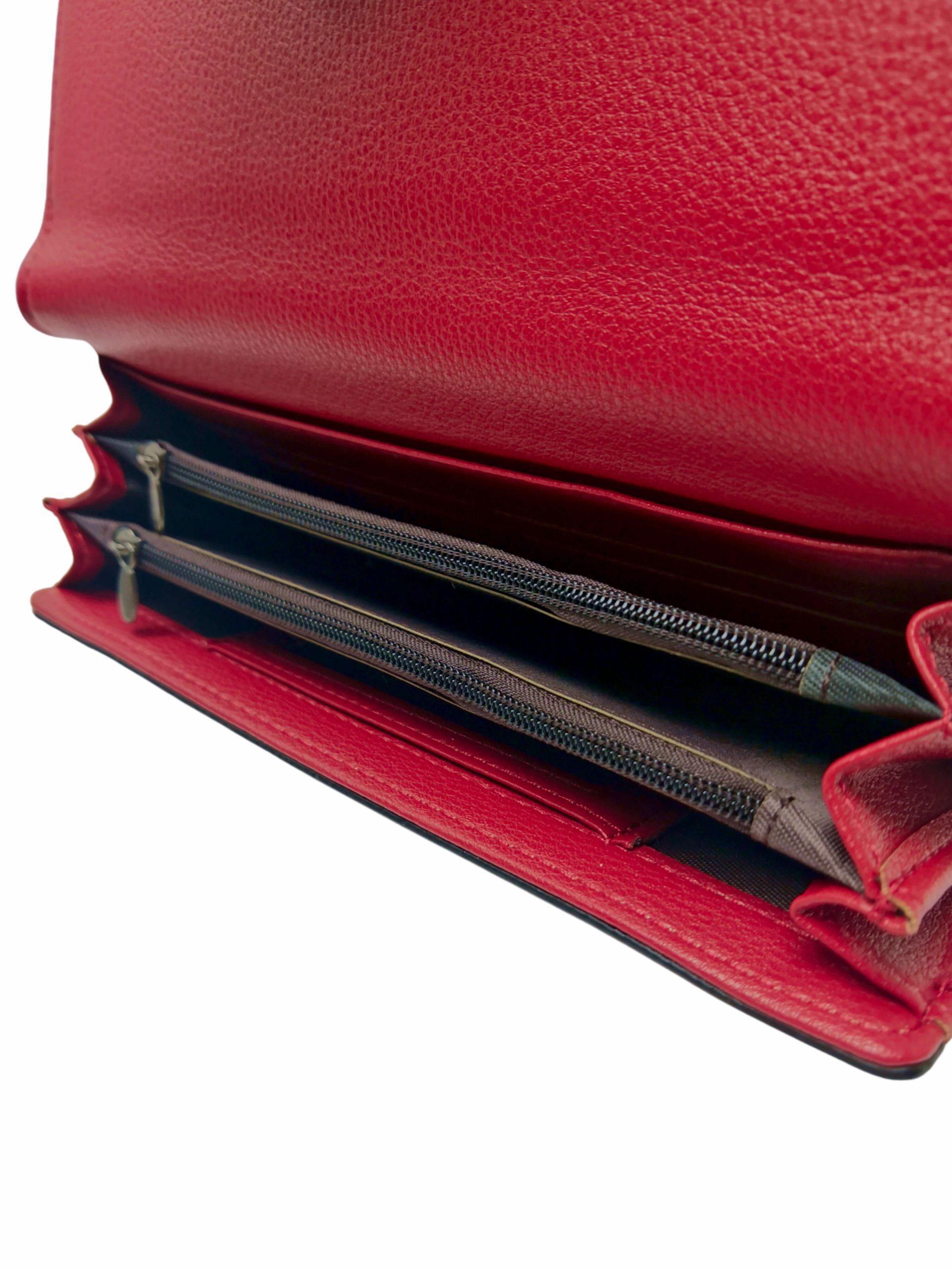 Elegantní dámská peněženka na magnetky, New Berry, 108-1, červená, vnitřní uspořádání peněženky