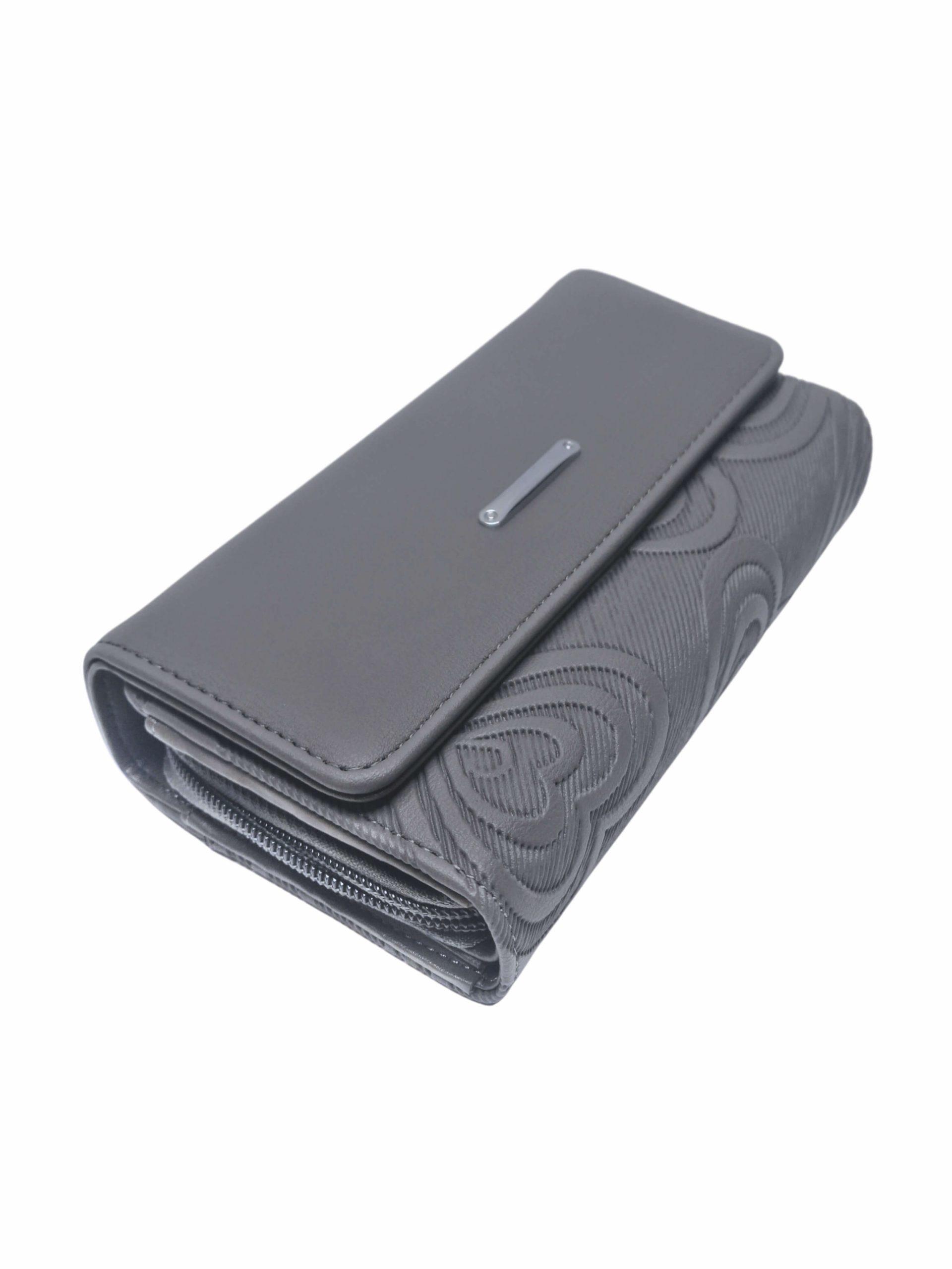 Moderní dámská peněženka s líbivým vzorem, New Berry, YX-106, středně šedá, přední strana peněženky