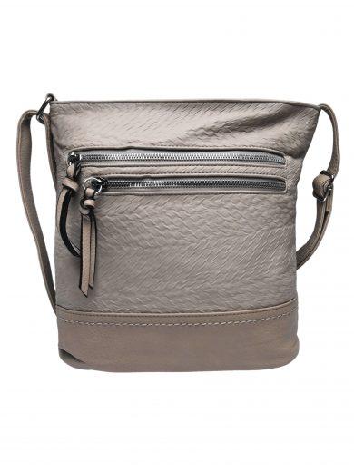 Slušivá crossbody kabelka s moderní texturou, Tapple, H20434, béžová, přední strana crossbody kabelky