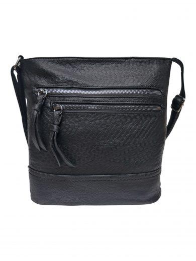 Slušivá crossbody kabelka s moderní texturou, Tapple, H20434, černá, přední strana crossbody kabelky