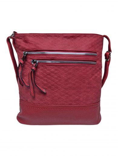 Slušivá crossbody kabelka s moderní texturou, Tapple, H20434, červená, přední strana crossbody kabelky