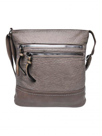 Slušivá crossbody kabelka s moderní texturou, Tapple, H20434, šedohnědá, přední strana crossbody kabelky