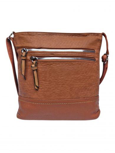 Slušivá crossbody kabelka s moderní texturou, Tapple, H20434, středně hnědá, přední strana crossbody kabelky