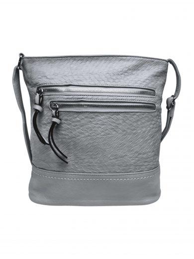 Slušivá crossbody kabelka s moderní texturou, Tapple, H20434, světle šedá, přední strana crossbody kabelky