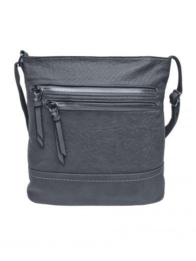 Slušivá crossbody kabelka s moderní texturou, Tapple, H20434, tmavě šedá, přední strana crossbody kabelky