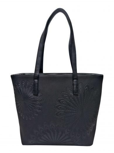 Slušivá dámská kabelka přes rameno s texturou, Tapple, H17409, černá, přední strana kabelky přes rameno