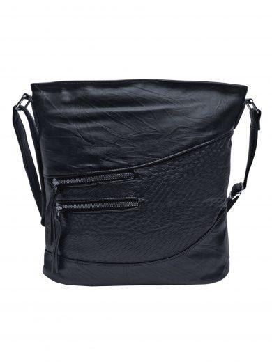 Střední crossbody kabelka s líbivou texturou, Tapple, H17360, černá, přední strana crossbody kabelky