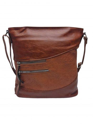 Střední crossbody kabelka s líbivou texturou, Tapple, H17360, středně hnědá, přední strana crossbody kabelky